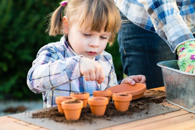 種子を植える白人の少女